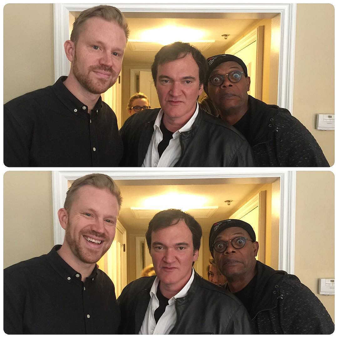 photo chilling with Quentin Tarantino & Samuel L. Jackson