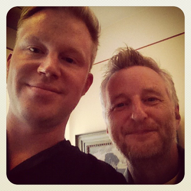 photo chilling with Billy Bragg